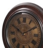 Ethnic Clock Makers Brown MDF & Metal 12 Inch Round Brass Fit Gold Handmade Wall Clock