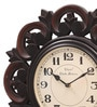 Brown MDF & Metal 16 Inch Round Brass & Copper Fit Handmade Wall Clock by Ethnic Clock Makers