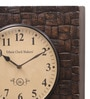 Ethnic Clock Makers Brown MDF & Metal 16 Inch Round Carved Brass Gold Handmade Wall Clock