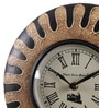 Brown Metal & MDF 10 Inch Round Hand Painting Wall Clock by Ethnic Clock Makers