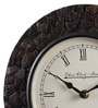 Ethnic Clock Makers Brown Metal & MDF 10 Inch Round Stone Design Wall Clock