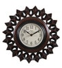 Brown Metal & MDF 12 Inch Round Carved & Polish Wall Clock by Ethnic Clock Makers