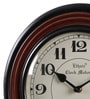 Ethnic Clock Makers Brown Metal & MDF 12 Inch Round Wall Clock