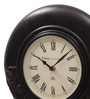 Ethnic Clock Makers Multicolor MDF & Metal 12 Inch Round Carved Handmade Wall Clock