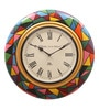 Multicolor MDF & Metal 16 Inch Round Block Design Handmade Wall Clock by Ethnic Clock Makers