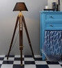 Mango Wood And Black Color Tripod Floor Lamp by Ethnic Roots