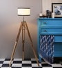 Sheesham Wood And White Color Tripod Floor Lamp by Ethnic Roots