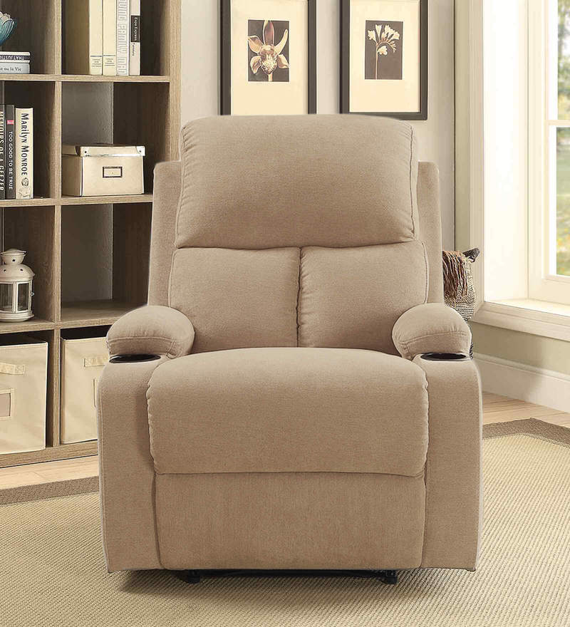 Europa One Seater Recliner in Beige Colour with Cup. Holder by Auspicious Home