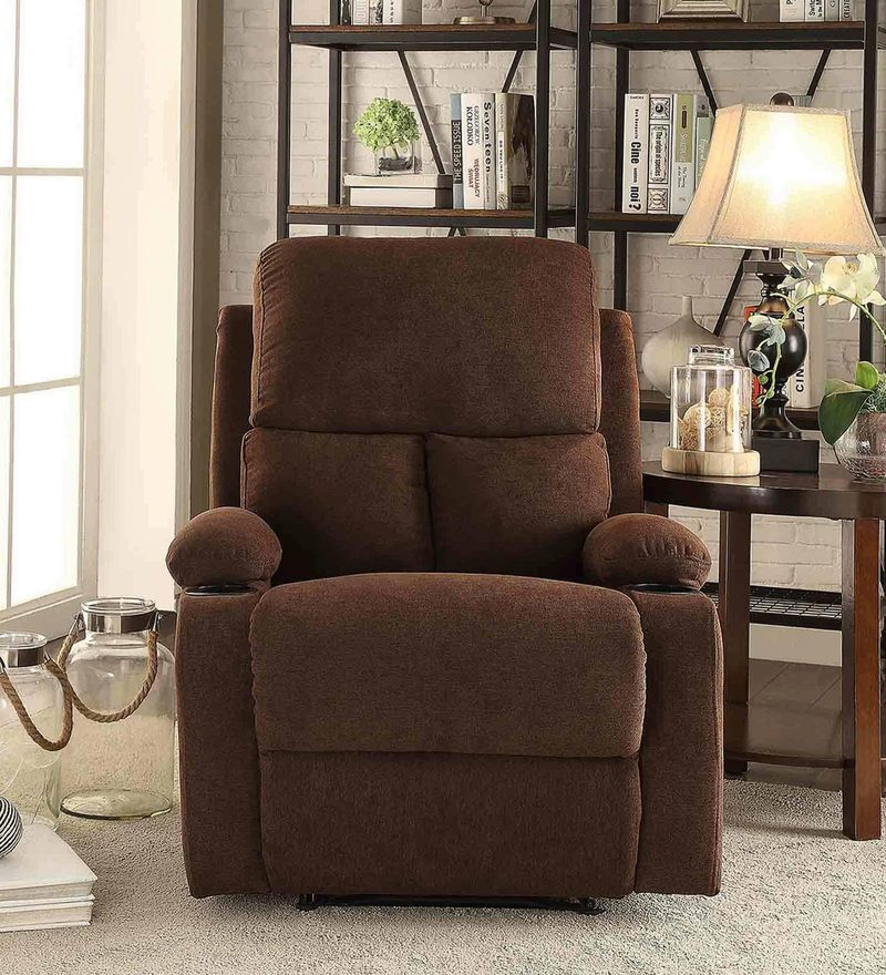 Europa One Seater Recliner in Chocolate Colour with Cup Holder Both Hand Side by Auspicious Home
