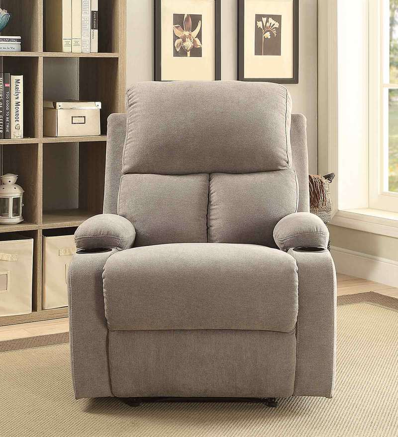 Europa One Seater Recliner in Grey Colour with Cup Holder Both Hand Side by Auspicious Home
