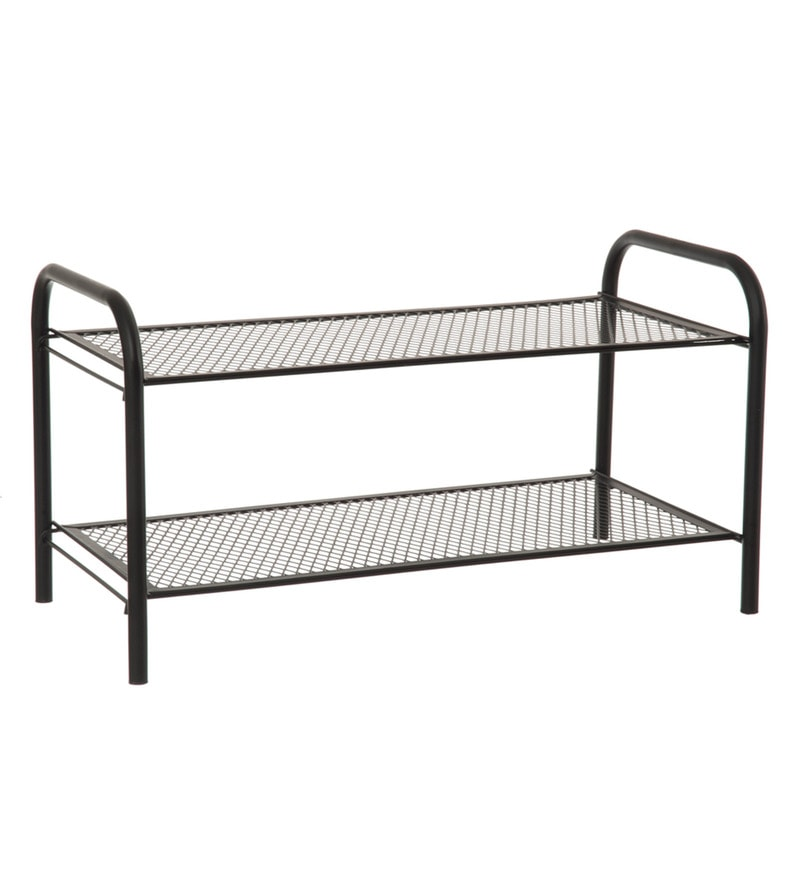 Eurostar Mild Steel Black 2 Tier Shoe Rack