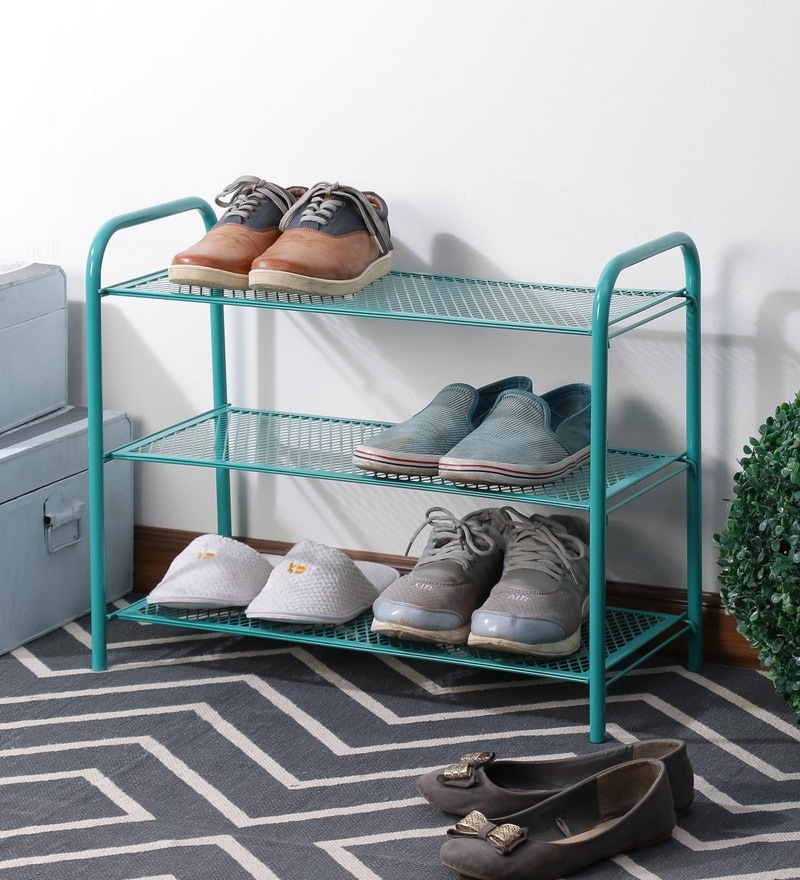 Eurostar Mild Steel Green 3 Shelves Shoe Rack