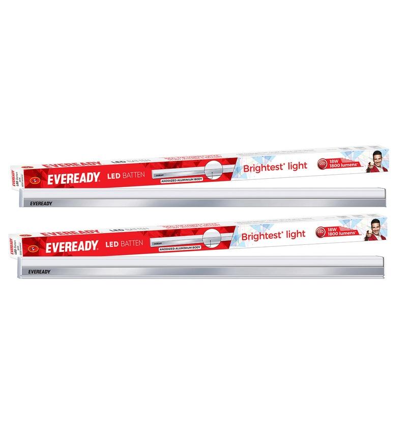Eveready 6500K 100 Lumens 2 Feet 18 Watt Cool Day Light LED Tube Light Battens - Set of 2