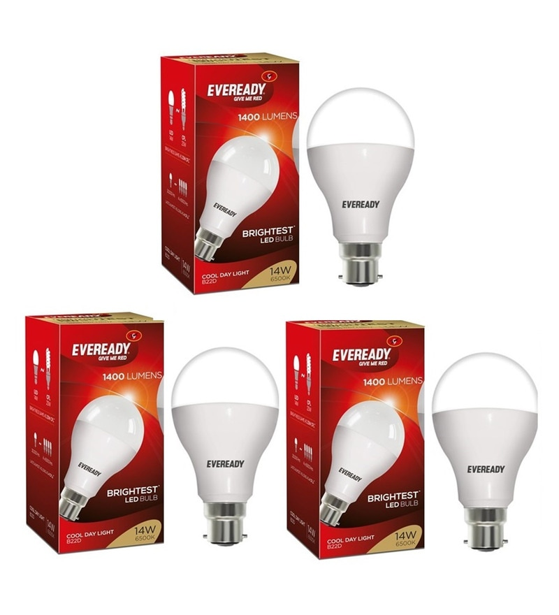 Eveready 6500K Cool White 14-Watt LED Bulbs - Set of 3