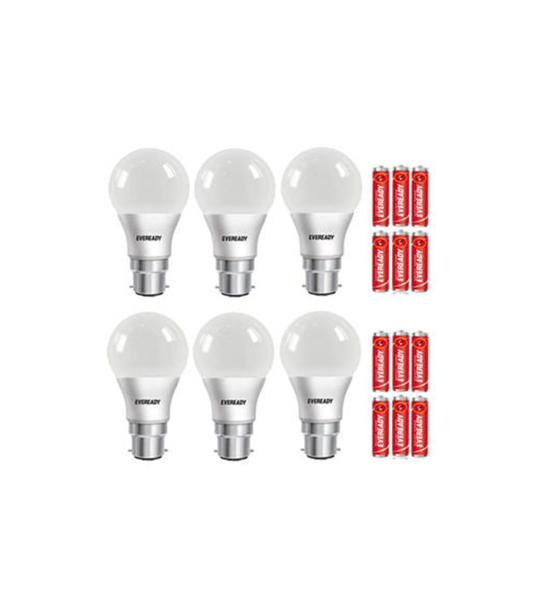 Eveready Cool Day White 9 W B22 Pin Type LED Bulbs - Set of 6 with 12 Batteries