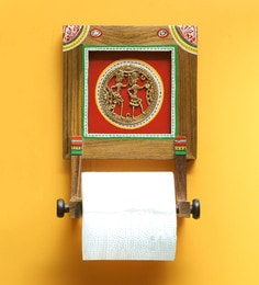 Exclusivelane Brown & Red Sheesham Wood & Brass 6.1 X 3.7 X 8.6 Inch Warli Hand-Painted Dhokra Toilet Paper Holder