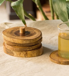 Exclusivelane Brown Mango Wood Coasters With Stand - Set Of 5