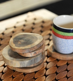 Exclusivelane Fine Tree Cut Wooden Coasters - Set Of 6