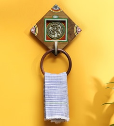Exclusivelane Natural Light Brown Sheesham Wood & Brass 7.9 X 1.9 X 11.7 Inch Warli Hand-Painted Dhokra Towel Ring
