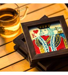 ExclusiveLane Playing Cards Canvas Hand Painted Multicolour Canvas & MDF Coasters - Set Of 4