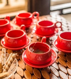 Exclusivelane Studio Pottery Ceramic Red Cups & Saucers - Set Of 12