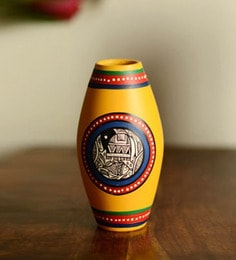 ExclusiveLane Yellow Terracotta Madhubani Dholak Vase