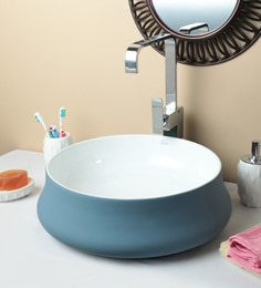 Exor 1951 Matt Finish Blue White Round Wash Basin