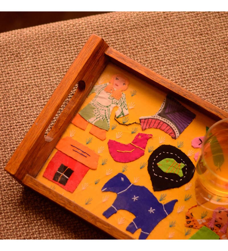 ExclusiveLane Applique Handwork Yellow Teak Wood Tray