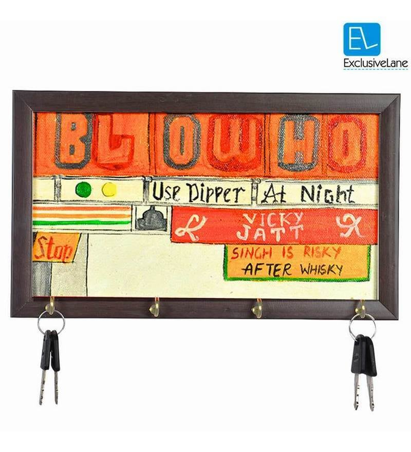 Exclusivelane Multicolour Acrylic & MDF Blow Horn Canvas Hand painted Truck Key Holder