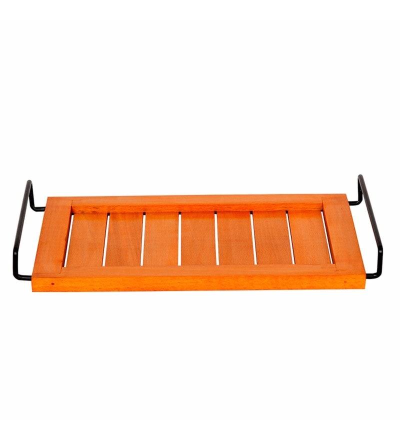 Exclusivelane Bright Orange Steam Beech Wood Serving Tray