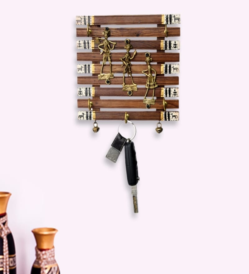 Brown Sheesham Wood & Brass Dhokra & Warli Key Holder with Ghungroo by ExclusiveLane