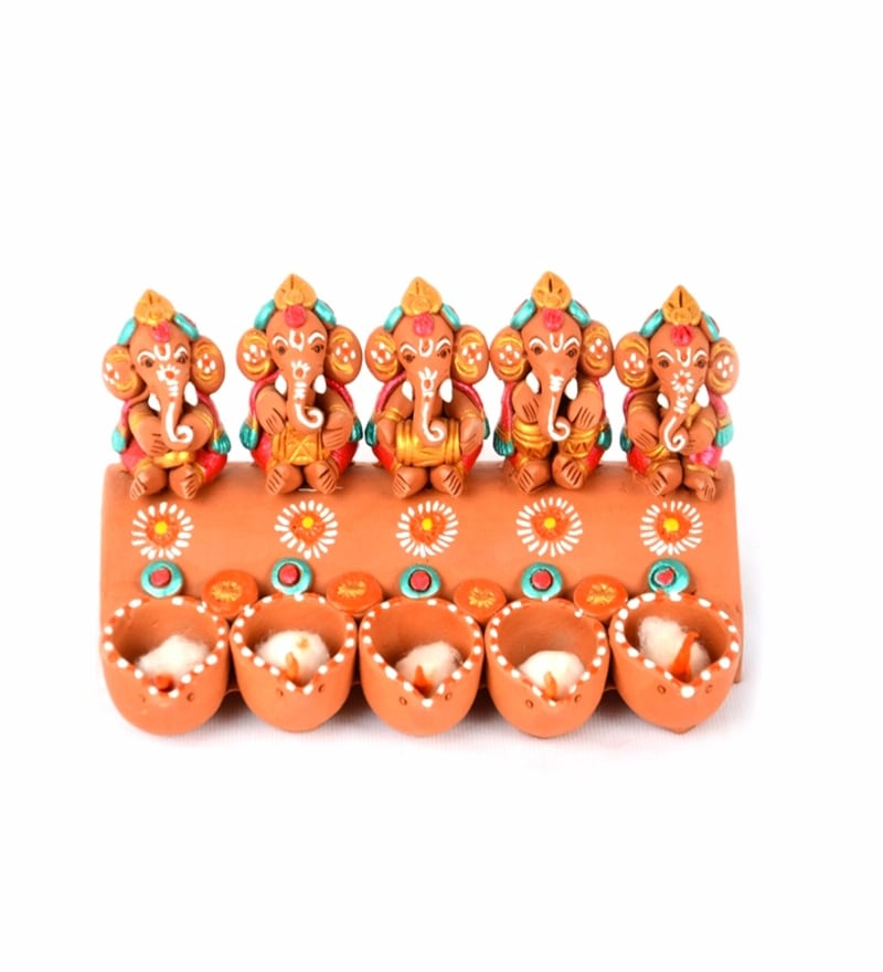 Exclusivelane Brown Terracotta Hand Painted Panchmukhi Musical Ganesha with Diyas