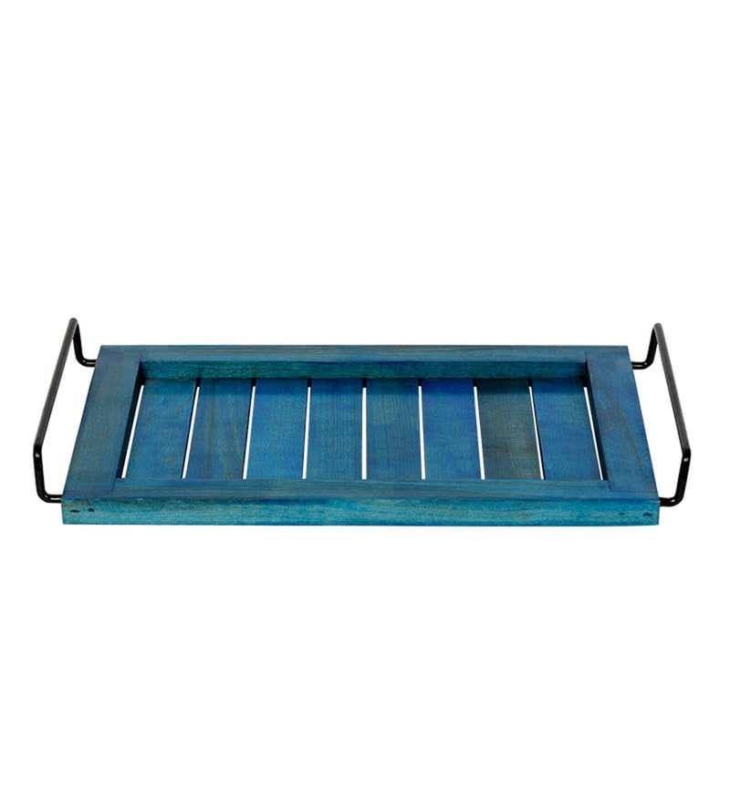 ExclusiveLane Elegant Blue Steam Beech Wood & Metal Tray