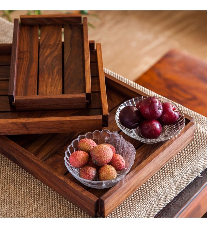 Exclusivelane Elegant Brown Sheesham Wood Trays - Set of 3