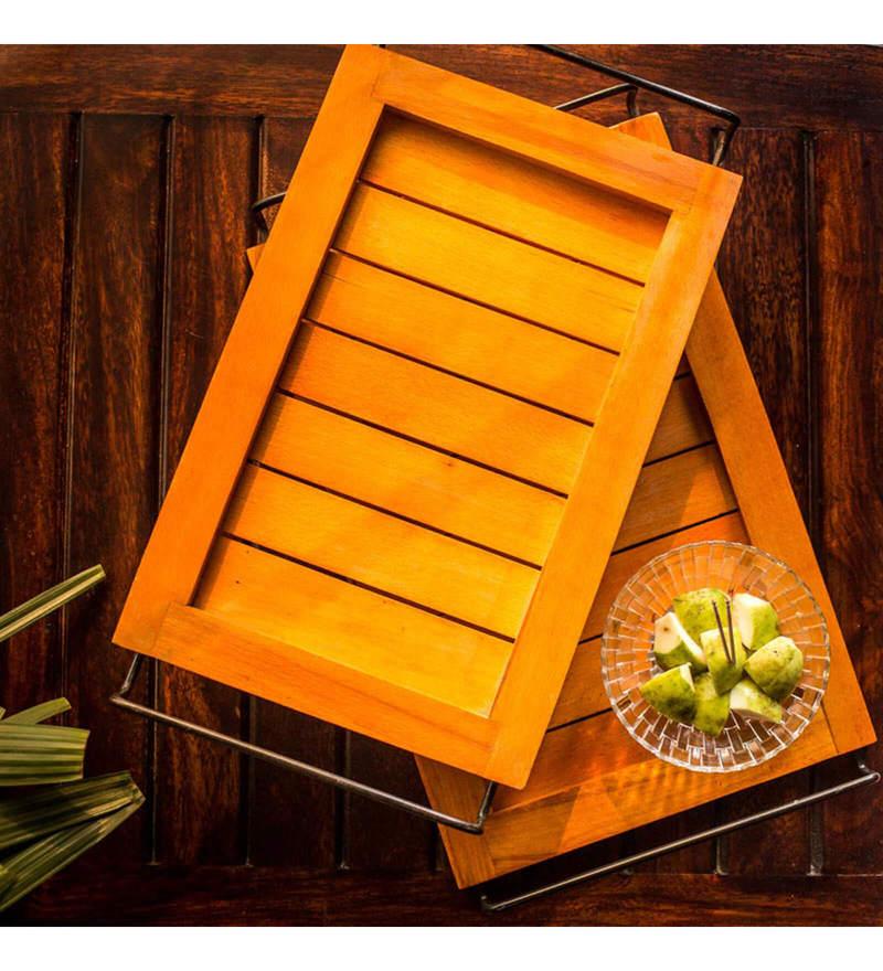 ExclusiveLane Elegant Orange Steam Beech Wood & Metal Trays - Set of 2