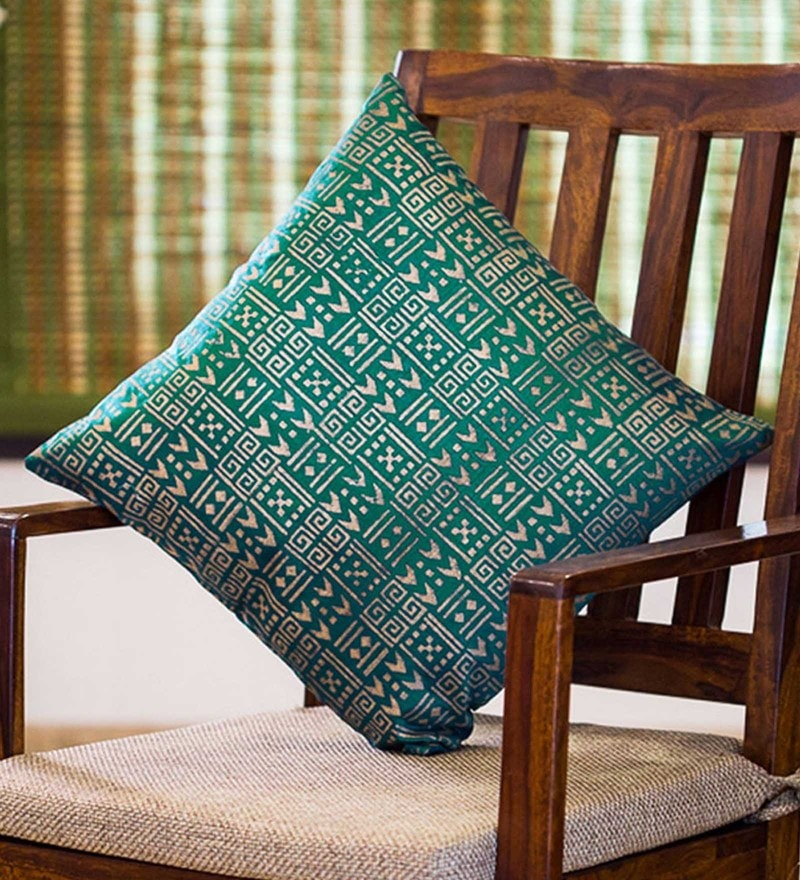 Exclusivelane Green & Golden Silk 16 x 16 Inch Handblock Printed Cushion Cover