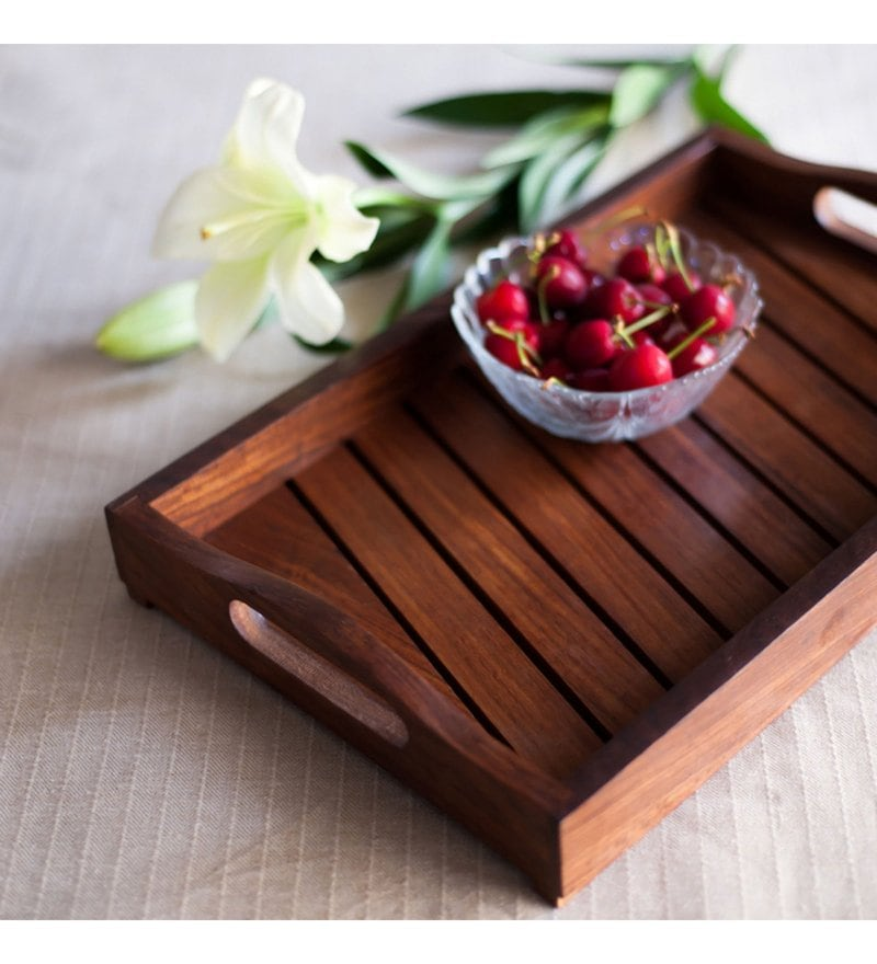 ExclusiveLane Handcrafted Sheesham Wood Tray