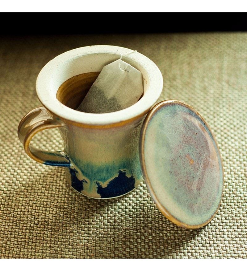 Exclusivelane Handcrafted Studio Pottery Celadon Brown Ceramic 280 ML Green Tea Filter Mug