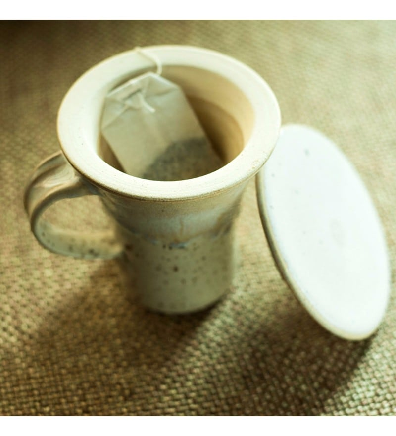 Exclusivelane Handcrafted Studio Pottery Creamish White Ceramic 280 ML Green Tea Filter Mug