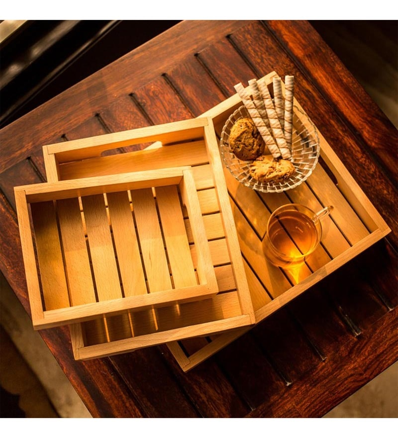 Exclusivelane Handcrafted Wooden Serving Trays - Set of 3