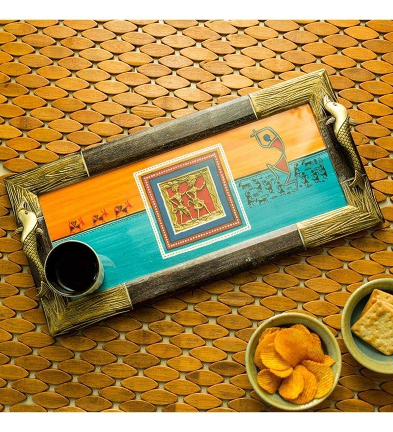ExclusiveLane Handpainted Warli & Dhokra Sunset Orange & Ocean Blue Mango Wood & MDF Tray