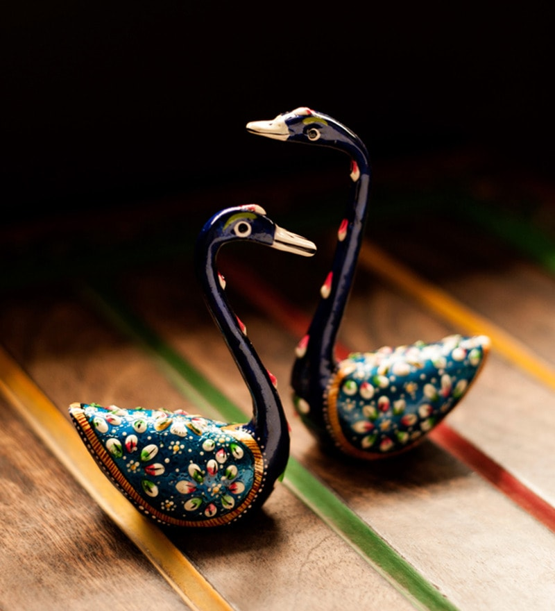 Multicoloured Metallic Meenakari Swan Showpieces - Set of 2 by ExclusiveLane