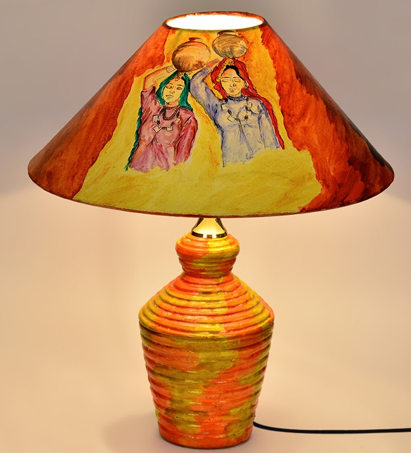 Multicolour Polyvinyl Handpainted Ethnic Ladies Table Lamp by ExclusiveLane