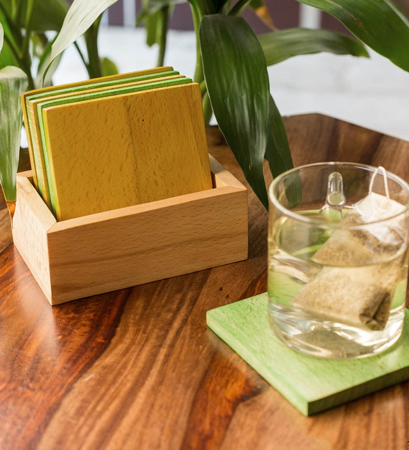 Exclusivelane Multicolour Steam Beech Wood Coasters With Holder - Set Of 7