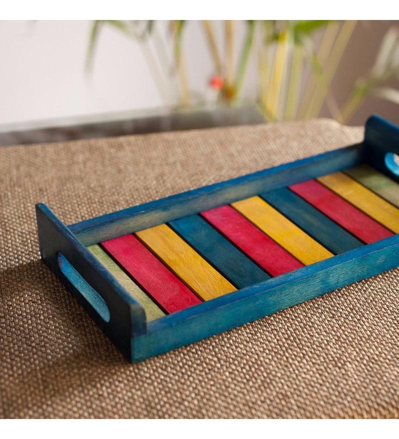 Exclusivelane Multicolour Steam Beech Wood Tray