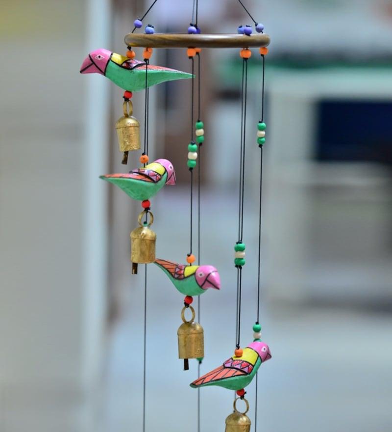 buy multicolour wood amp copper handmade birds wind chime