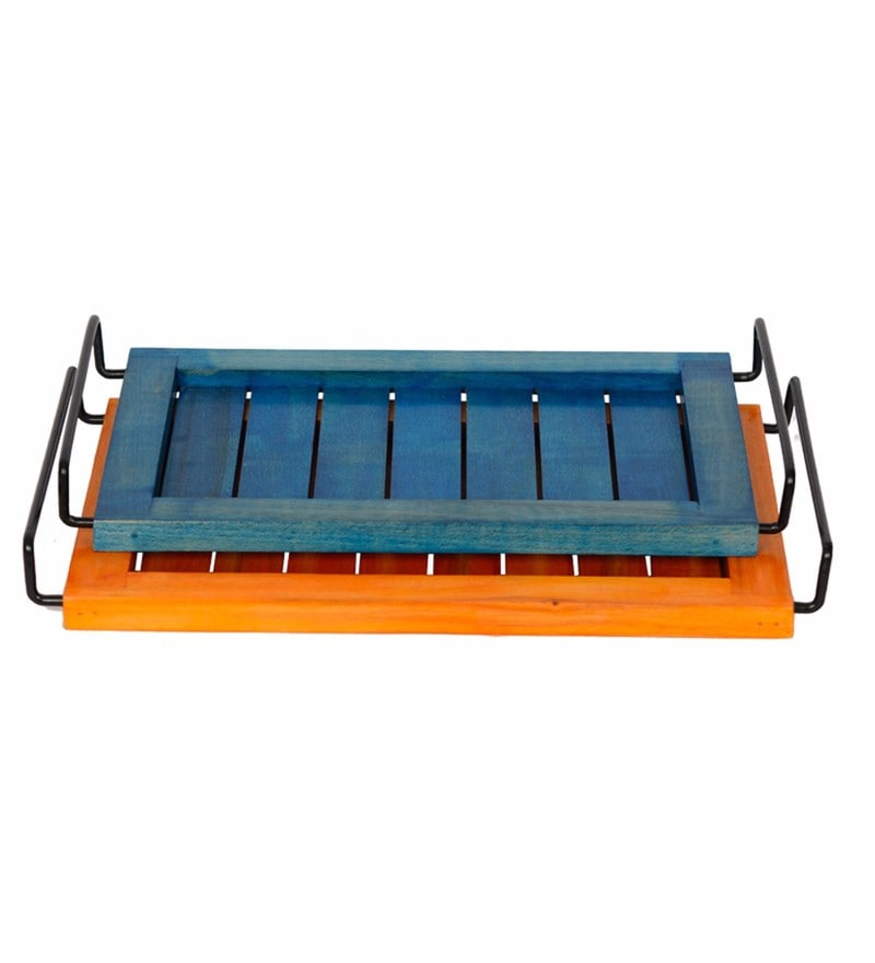 Exclusivelane Orange & Blue Steam Beech Wood Serving Trays - Set of 2