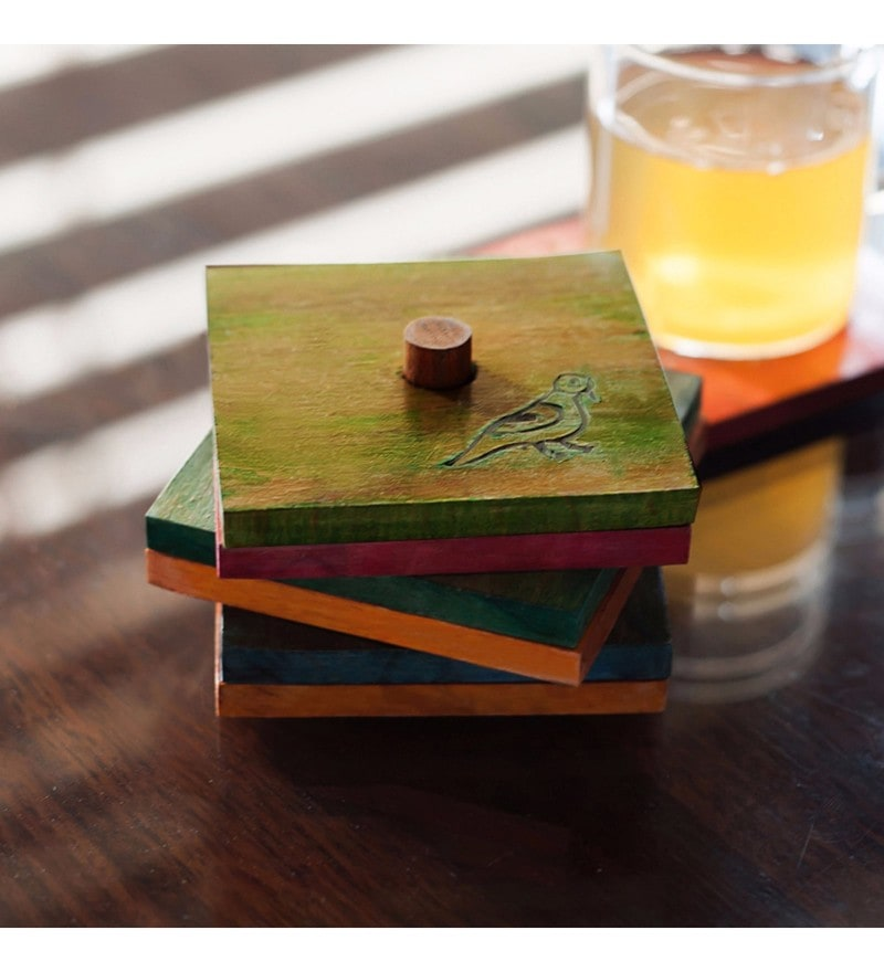 Exclusivelane Parrot Carving Multicolour Steam Beech Wood Coasters with Holder - Set of 6