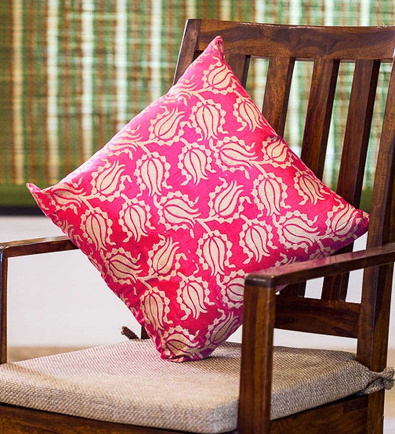 Exclusivelane Pink & Golden Silk 16 x 16 Inch Handblock Printed Cushion Cover