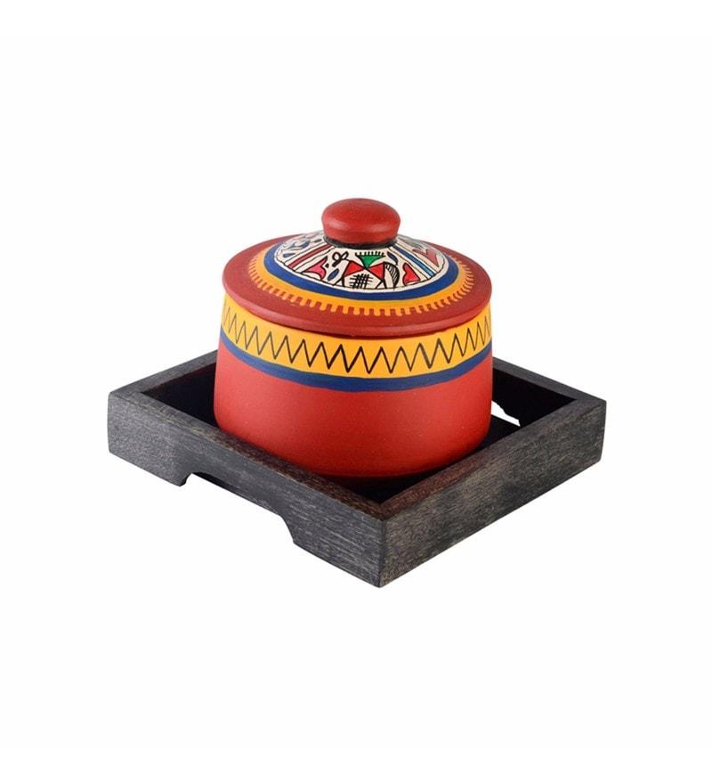 ExclusiveLane Red Cylindrical 200 ML Warli Handpainted Jar with Sheesham Wood Tray